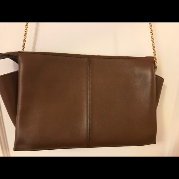 Celine Handbags - Celine natural calfskin tri-fold clutch on chain